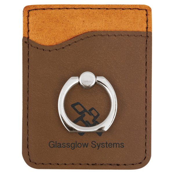 Dark Brown Laserable Leatherette Phone Wallet with Silver Ring