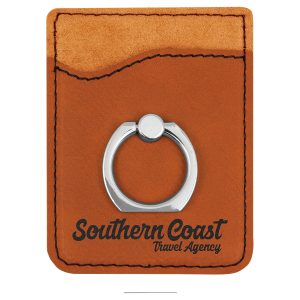 Rawhide Laserable Leatherette Phone Wallet with Silver Ring