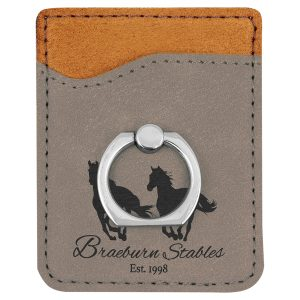 Gray Laserable Leatherette Phone Wallet with Silver Ring