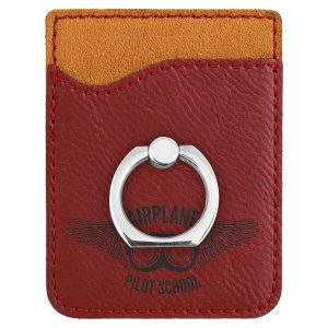 Rose Laserable Leatherette Phone Wallet with Silver Ring