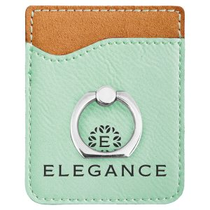 Teal Laserable Leatherette Phone Wallet with Silver Ring