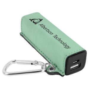 Teal Laserable Leatherette 200 mAh Power Bank with USB Cord