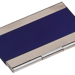 "3 3/4"" x 2 1/2"" Blue Laserable Business Card Holder"