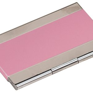 "3 3/4"" x 2 1/2"" Pink Laserable Business Card Holder"