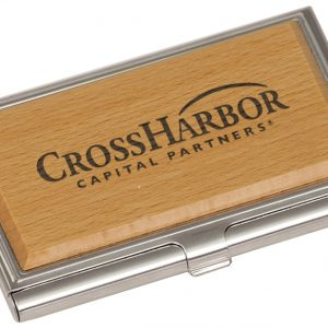 "3 3/4"" x 2 1/2"" Silver/Wood Business Card Holder"