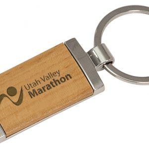 """7/8"""" x 1 7/8"""" Silver/Wood Laserable Rectangle Keychain"""