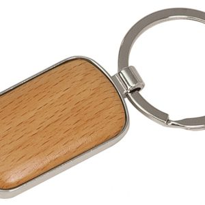 "1"" x 1 3/4"" Silver/Wood Laserable Rounded Corner Rectangle Keychain"