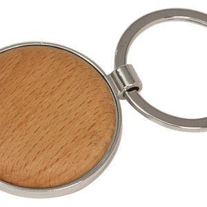 "1 5/8"" Silver/Wood Laserable Round Keychain"