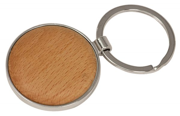 """1 5/8"""" Silver/Wood Laserable Round Keychain"""