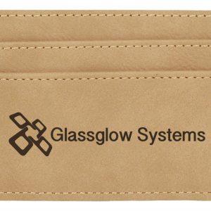"4"" x 2 3/4"" Light Brown Laserable Leatherette Wallet Clip"