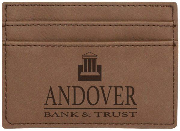 "4"" x 2 3/4"" Dark Brown Laserable Leatherette Wallet Clip"