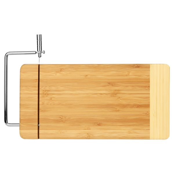 """12"""" x 6"""" Bamboo Rectangle Cutting Board with Metal Cheese Cutter"""