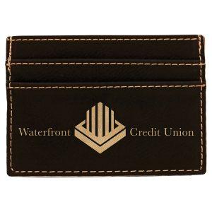"""4"""" x 2 3/4"""" Black/Gold Laserable Leatherette Wallet Clip"""