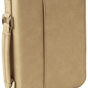 "6 3/4"" x 9 1/4"" Light Brown Leatherette Book/Bible Cover with Handle & Zipper"