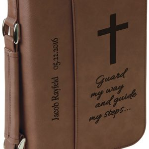"""6 3/4"""" x 9 1/4"""" Dark Brown Leatherette Book/Bible Cover with Handle & Zipper"""