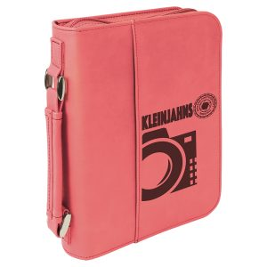 "6 3/4"" x 9 1/4"" Pink Leatherette Book/Bible Cover with Handle & Zipper"
