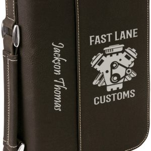 "6 3/4"" x 9 1/4"" Black/Silver Leatherette Book/Bible Cover with Handle & Zipper"