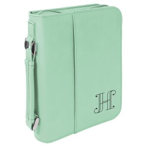 "6 3/4"" x 9 1/4"" Teal Leatherette Book/Bible Cover with Handle & Zipper"