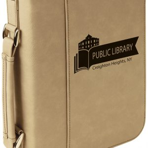 "7 1/2"" x 10 3/4"" Light Brown Leatherette Book/Bible Cover with Handle & Zipper"