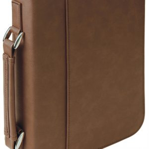 "7 1/2"" x 10 3/4"" Dark Brown Leatherette Book/Bible Cover with Handle & Zipper"