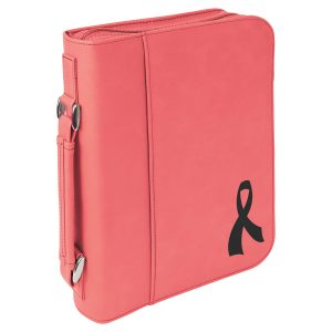 "7 1/2"" x 10 3/4"" Pink Leatherette Book/Bible Cover with Handle & Zipper"