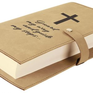 """6 1/2"""" x 8 3/4"""" Light Brown Leatherette Book/Bible Cover with Snap Closure"""