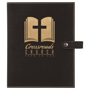 "6 1/2"" x 8 3/4"" Black/Gold Leatherette Book/Bible Cover with Snap Closure"