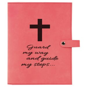 """6 1/2"""" x 8 3/4"""" Pink Leatherette Book/Bible Cover with Snap Closure"""