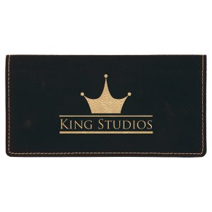 """6 3/4"""" x 3 1/2"""" Black/Gold Laserable Leatherette Checkbook Cover"""