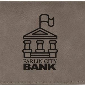 "6 3/4"" x 3 1/2"" Gray Laserable Leatherette Checkbook Cover"