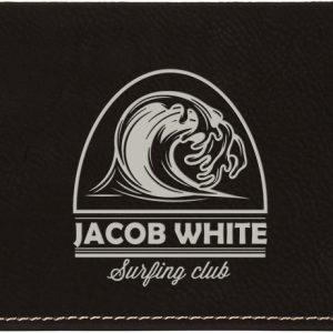 "6 3/4"" x 3 1/2"" Black/Silver Laserable Leatherette Checkbook Cover"
