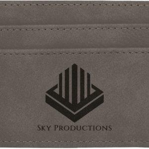 "4"" x 2 3/4"" Gray Laserable Leatherette Wallet Clip"