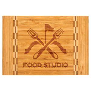 "12"" x 8 1/4"" Bamboo Cutting Board with Butcher Block Inlay"