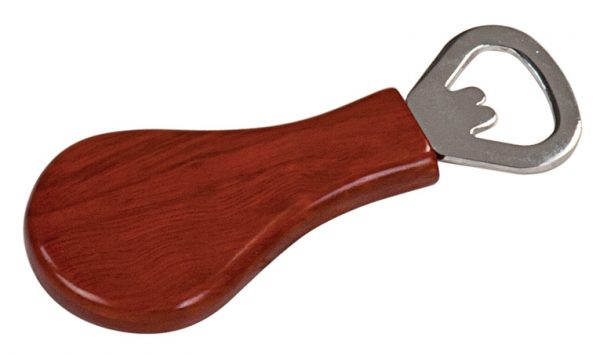 "1 1/4"" x 4"" Rosewood Finish Magnetic Pear-Shaped Bottle Opener"