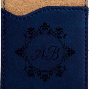 Blue Laserable Leatherette Phone Wallet
