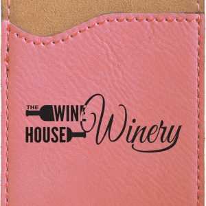 Pink Laserable Leatherette Phone Wallet