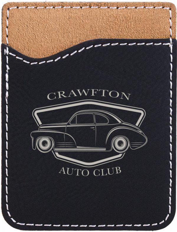 Black/Silver Laserable Leatherette Phone Wallet