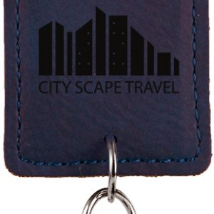 Rectangle Blue Laserable Leatherette Bottle Opener Keychain