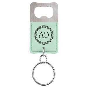 Rectangle Teal Laserable Leatherette Bottle Opener Keychain