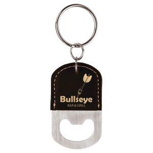 Oval Black/Gold Laserable Leatherette Bottle Opener Keychain