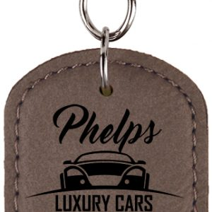Oval Gray Laserable Leatherette Bottle Opener Keychain