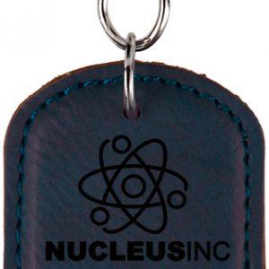 Oval Blue Laserable Leatherette Bottle Opener Keychain