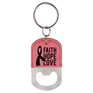 Oval Pink Laserable Leatherette Bottle Opener Keychain