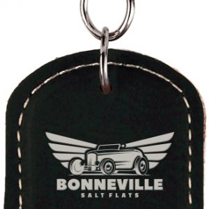 Oval Black/Silver Laserable Leatherette Bottle Opener Keychain
