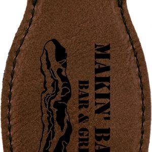 Dark Brown Laserable Leatherette Bottle Opener with Magnet