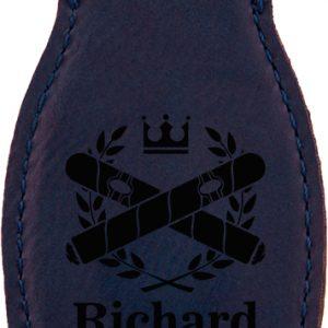 Blue Laserable Leatherette Bottle Opener with Magnet