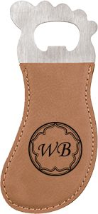 Light Brown Laserable Leatherette Foot Shaped Bottle Opener with Magnet