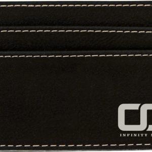 "4"" x 2 3/4"" Black/Silver Laserable Leatherette Wallet Clip"