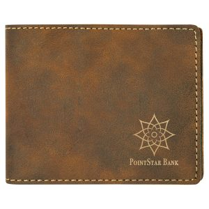 """4 1/2"""" x 3 1/2"""" Rustic/Gold Laserable Leatherette Bifold Wallet"""