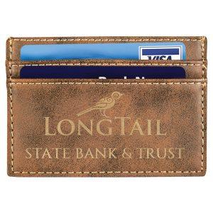 "4"" x 2 3/4"" Rustic/Gold Laserable Leatherette Wallet Clip"